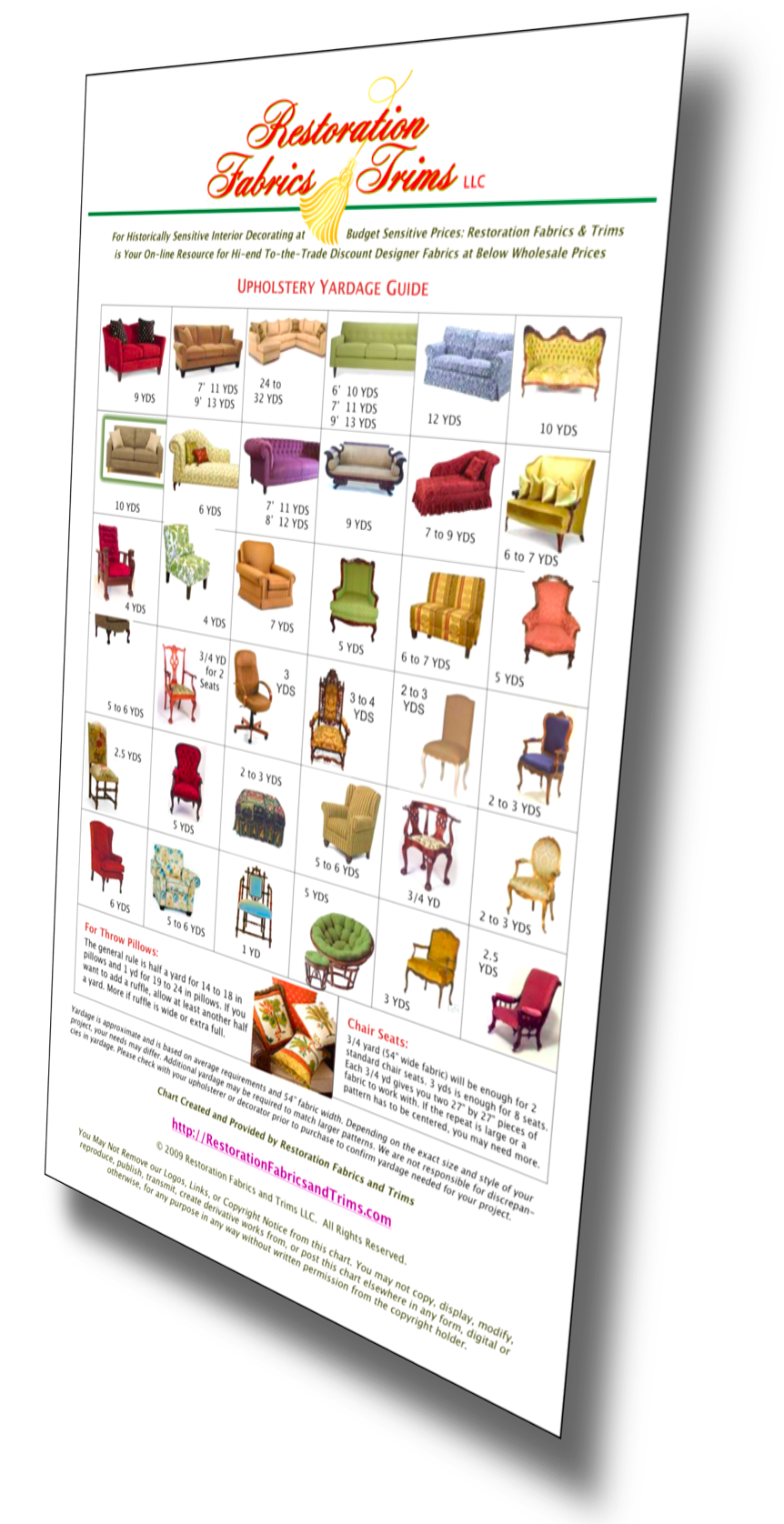 Restoration Fabrics & Trims Upholstery Chart Picture